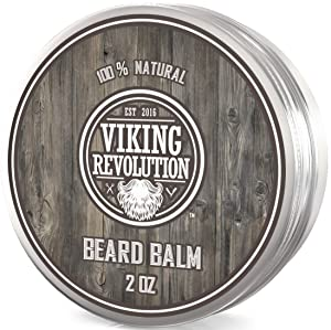 Viking Revolution Beard Balm - All Natural Grooming Treatment with Argan Oil & Mango Butter - Strengthens & Softens Beards & Mustaches - Citrus Scent Leave in Conditioner Wax for Men - 1 Pack