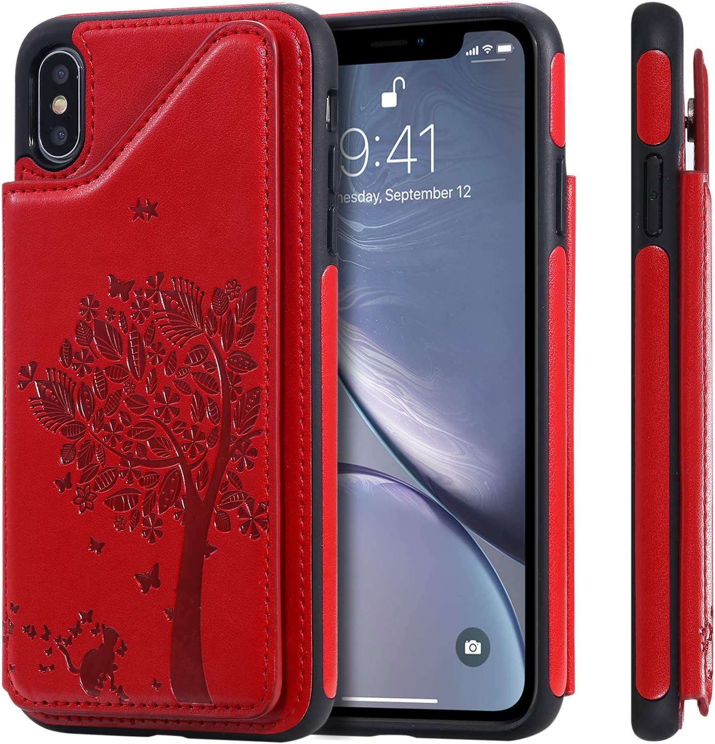 TACOO Cover Case for XS Max iPhone,Card Slot Leather Protective Kickstand Durable Shell Women Men Boy Girl Red