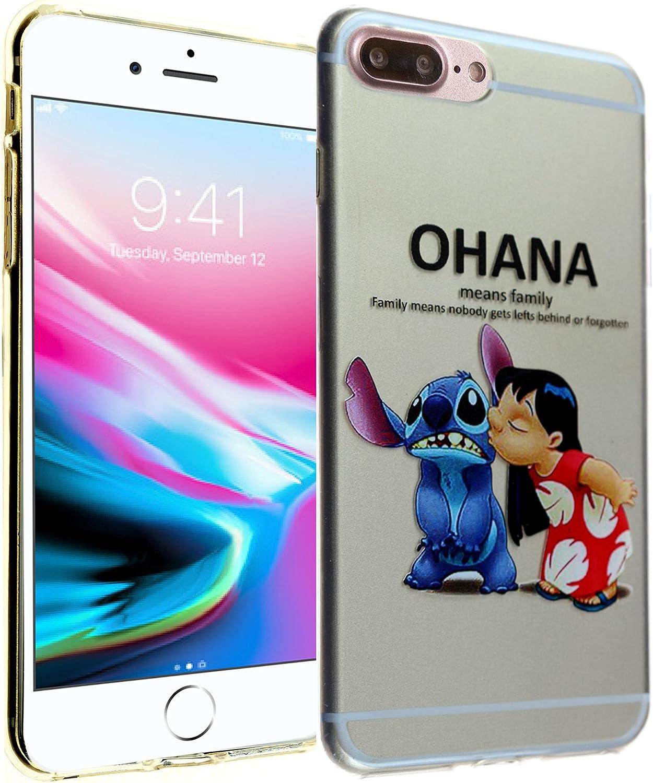 for iPhone 8 Plus Case, Clear Cartoon Stitch Ohana DURARMOR FlexArmor Flexible TPU Bumper Case Ultra Slim ScratchSafe Drop Protection Cover