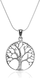 Amazon sterling silver tree of life necklace pendant with 18 925 sterling silver beautiful vintage style tree of life pendant on alloy necklace chain 18 aloadofball Choice Image
