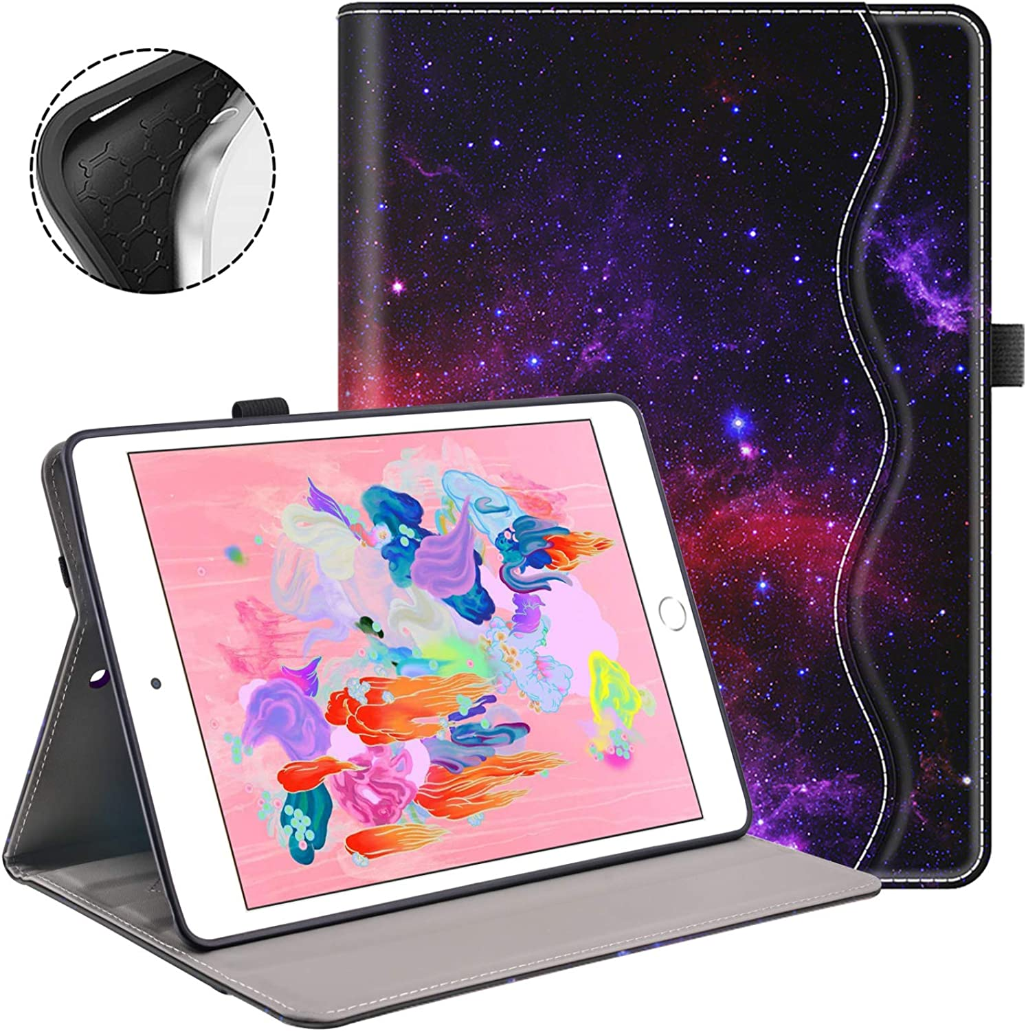 Case for iPad 9.7 Inch 2018/2017 iPad 6th/5th Generation Case with Pencil Holder Soft TPU Back, Auto Wake/Sleep and Multi-Angle Viewing Smart iPad Air/Air2 Cover
