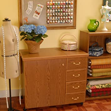 Arrow Sewing Cabinet Marilyn Sewing Machine Storage With AirLift   Oak  Finish Arrow Sewing Cabinet
