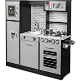 Jumbl Kids Kitchen Set, Pretend Wooden Play Kitchen, Battery Operated Icemaker & Microwave with Realistic Sound, Pots & Pan I