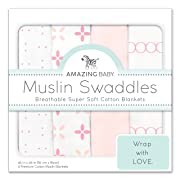 Amazing Baby Muslin Swaddle Blankets, Set of 4, Premium Cotton, Springfield, Pink