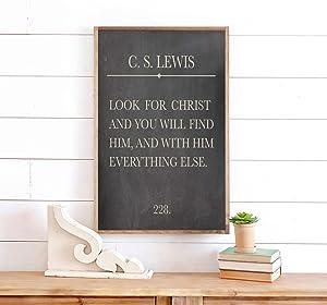 Christian Wall Decor Christian Signs Christian Wall Art Cs Lewis Quote Sign Cs Lewis Wall Art Wood Framed Sign 22x12inch