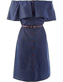 4719c39ab6c Kate Kasin Women Off Shoulder Button up Denim Shirts Dresses with Belt