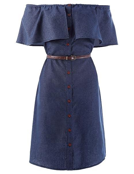 Kate Kasin Vestido Vaquero Azul Oscuro para Mujer De Corte En Escote Botones por La Rodilla