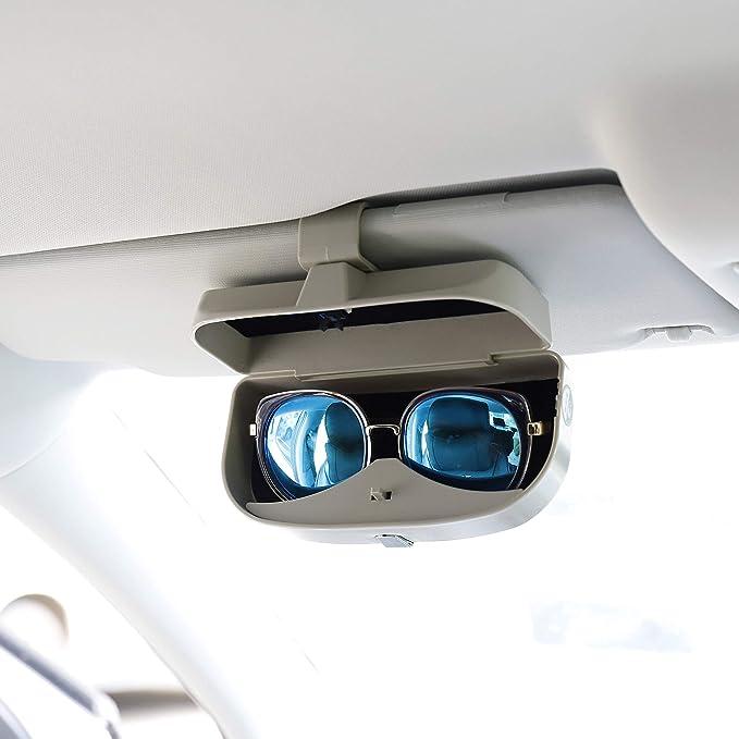Mengh Shop Auto Brillenetui Universal Brillen Aufbewahrungsbox Mit Magnetischem Funktion Und Karteneinschub Multifunktionale Auto Brillenbox Für Auto Sonnenblende Grau Auto