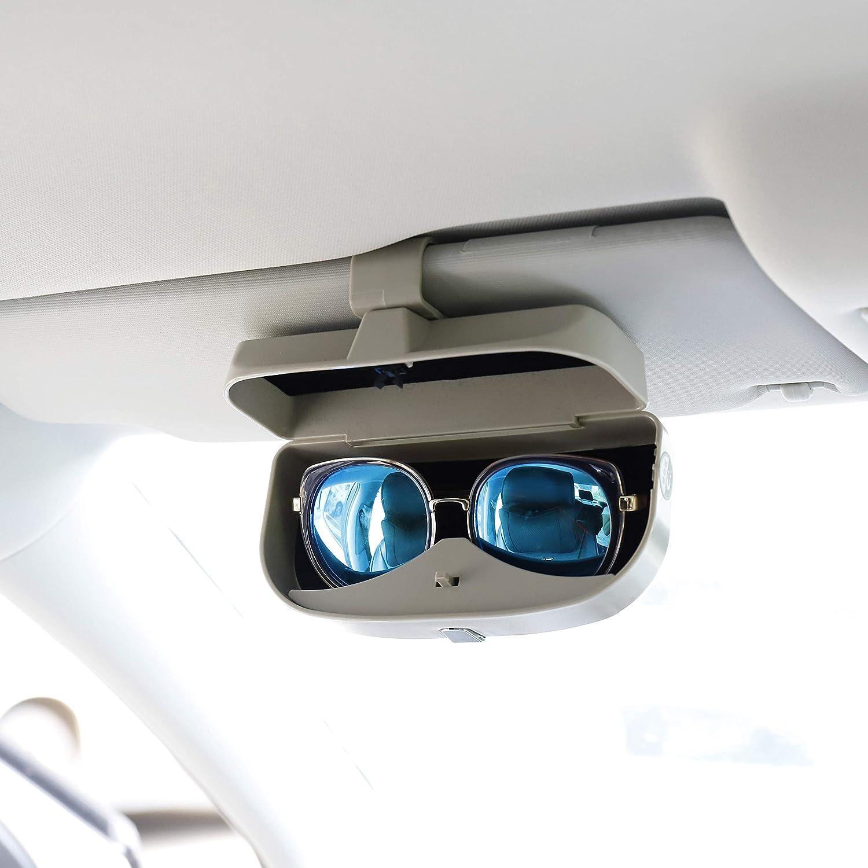 MengH-SHOP Auto Brillenetui Universal Brillen Aufbewahrungsbox mit Magnetischem Funktion und Karteneinschub Multifunktionale Auto-Brillenbox f/ür Auto Sonnenblende Grau
