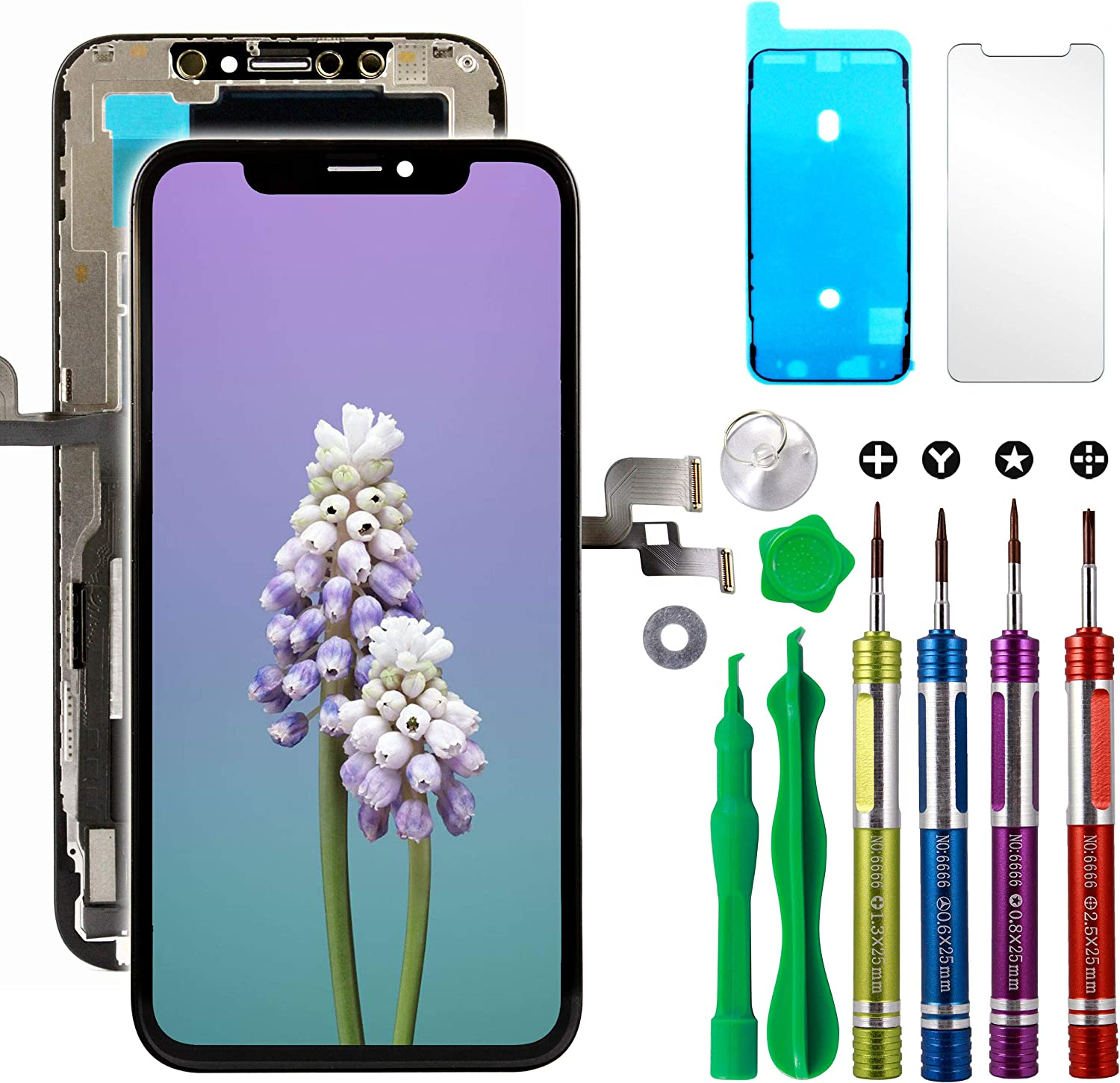 Ace Tech Compatible with iPhone Xs LCD Screen Replacement 5.8 inch (Model A1920, A2097, A2098,A2099, A2100) LCD Touch Screen Display Digitizer Repair Kit Assembly with Complete Repair Tools