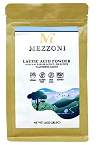 Mezzoni Foods Lactic Acid Food Grade 10 Ounce – Natural Preservative, pH Reducer, Vegan Cheese Powder and Flavoring Agent – Vegan, Gluten-Free, Non-GMO and Kosher