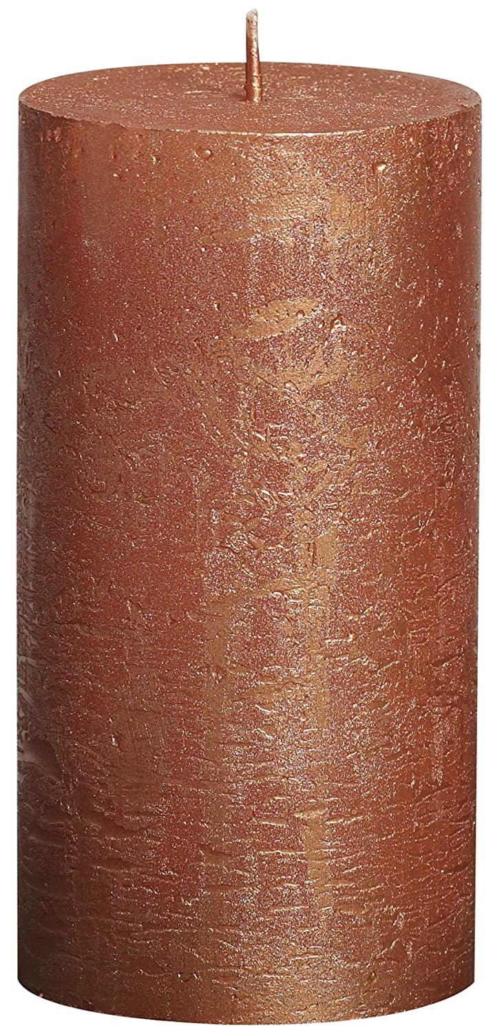 Rustic Metallic Copper Pillar Candle, Paraffin Wax, 6.8x6.8x13 cm Bolsius 103667640380