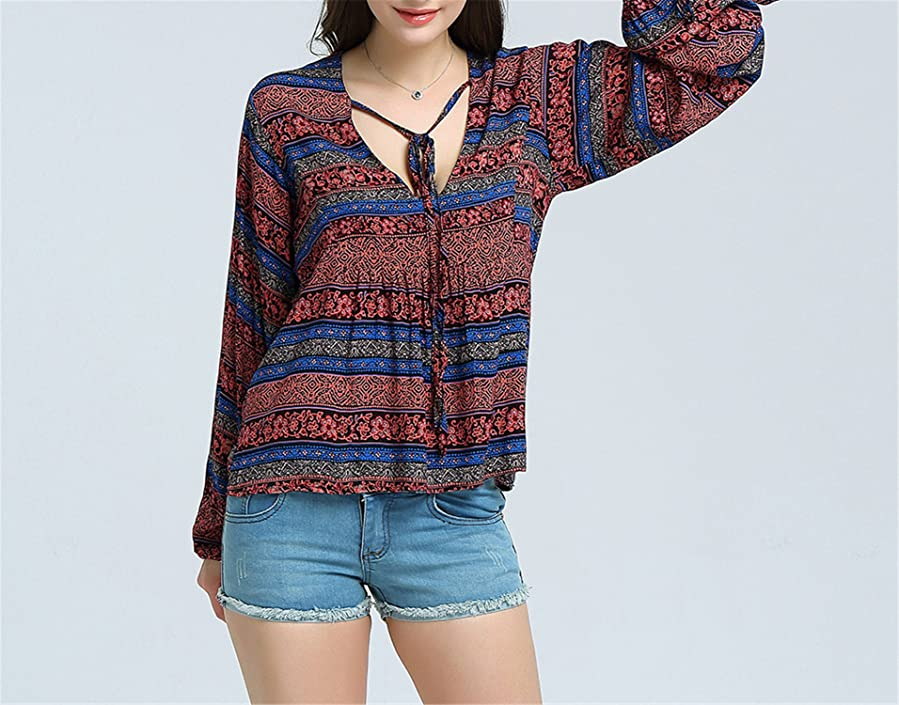 Amazon.com: Eloise Isabel Fashion Impresso Mulheres Casual Camisa Blusa Top Boho Bohemian Feminino Túnica Do Vintage Lanterna Manga Longa: Clothing