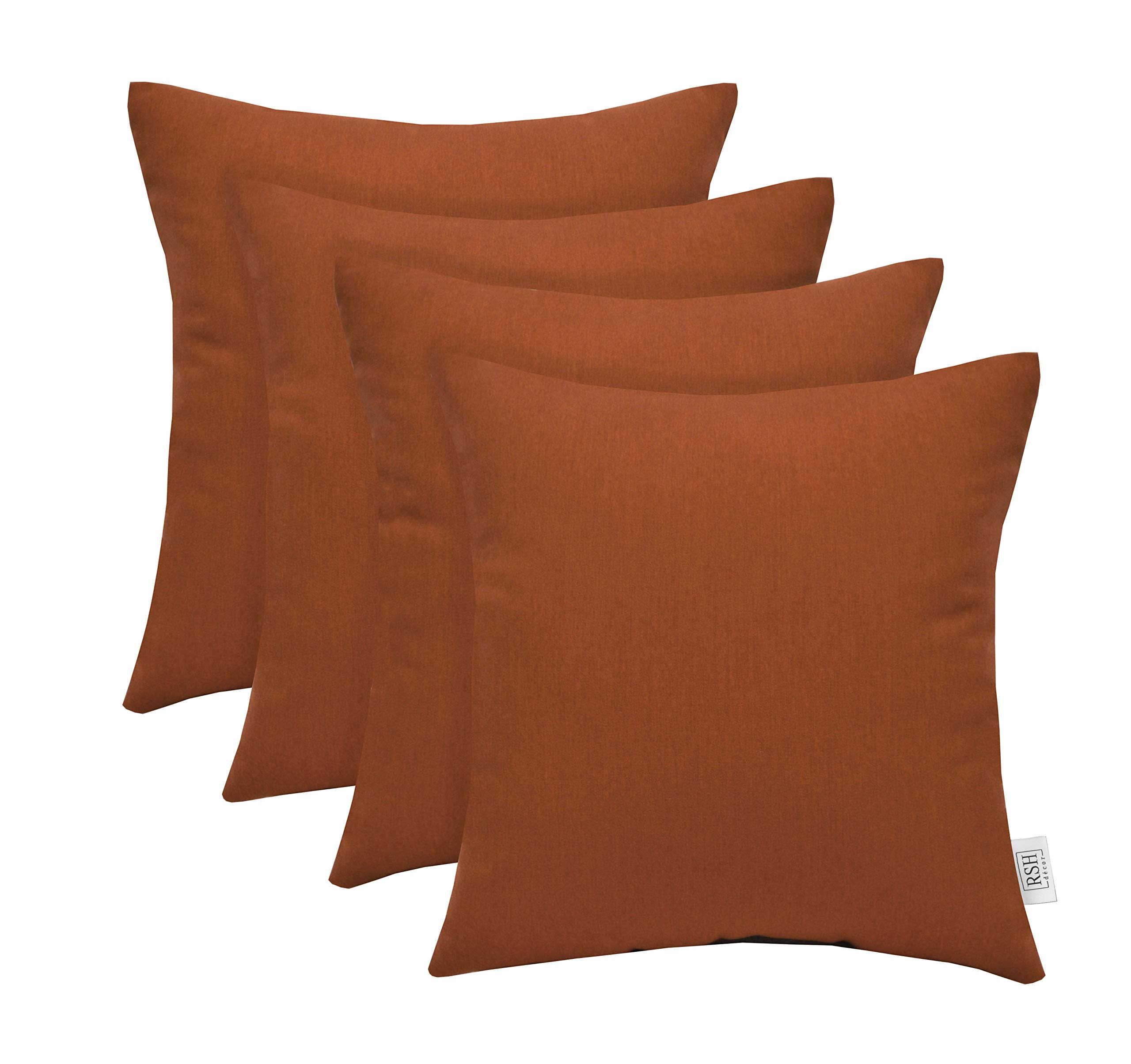 RSH Décor Set of 4 Indoor/Outdoor Square Throw Pillows Sunbrella Canvas Rust (17'' x 17'')