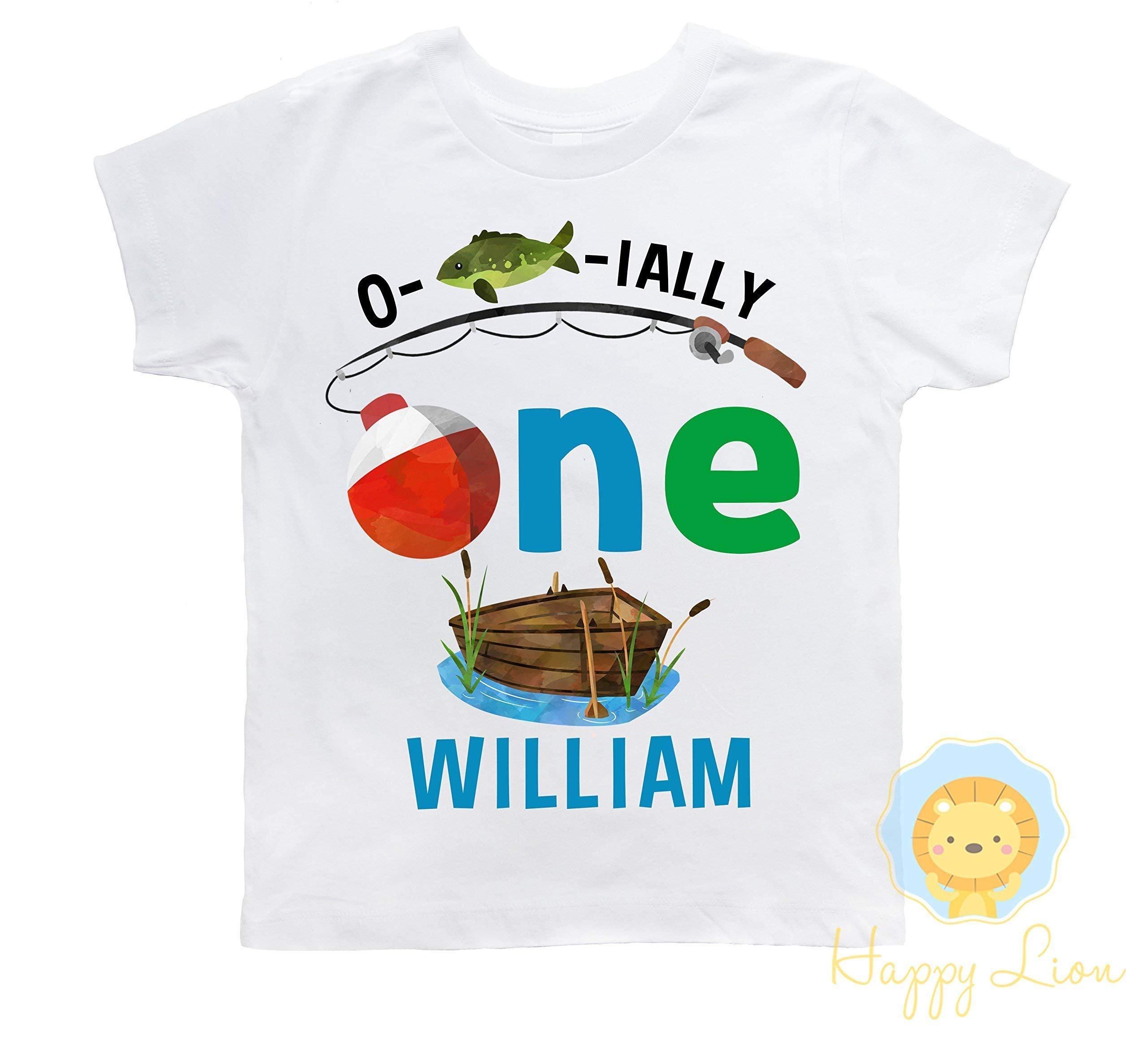 Happy Lion Clothing - Personalized First 1st Birthday Fishing Theme shirt for boys, Ofishally One Birthday outfit