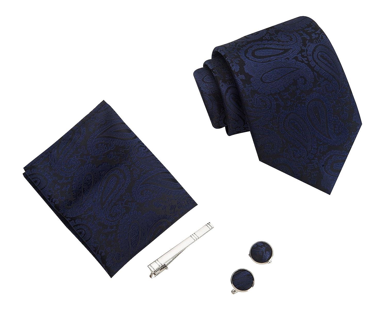 pin palo y Gemelos caja de regalo pa/ñuelo LUYOHO Paisley Moda de Hombre Corbata