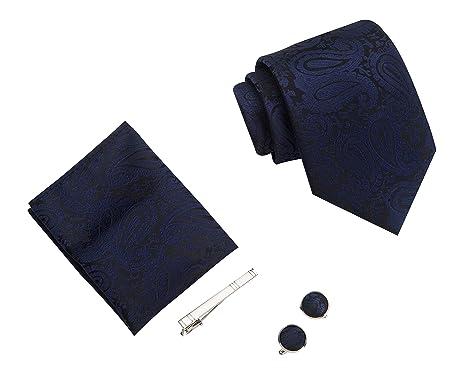 LUYOHO Paisley Moda de Hombre Corbata, pañuelo, pin palo y Gemelos ...