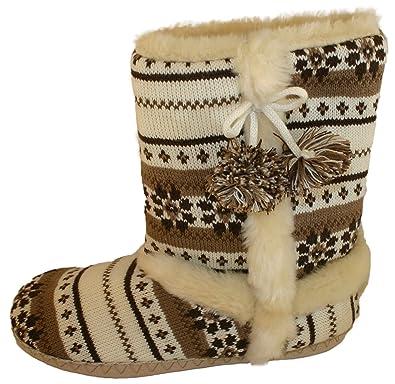 c4baa3d5ae8df8 Dunlop Womens Girls Farrah Faux Fur Lined Fairisle Boot Slippers Sizes 3-8:  Amazon.co.uk: Shoes & Bags