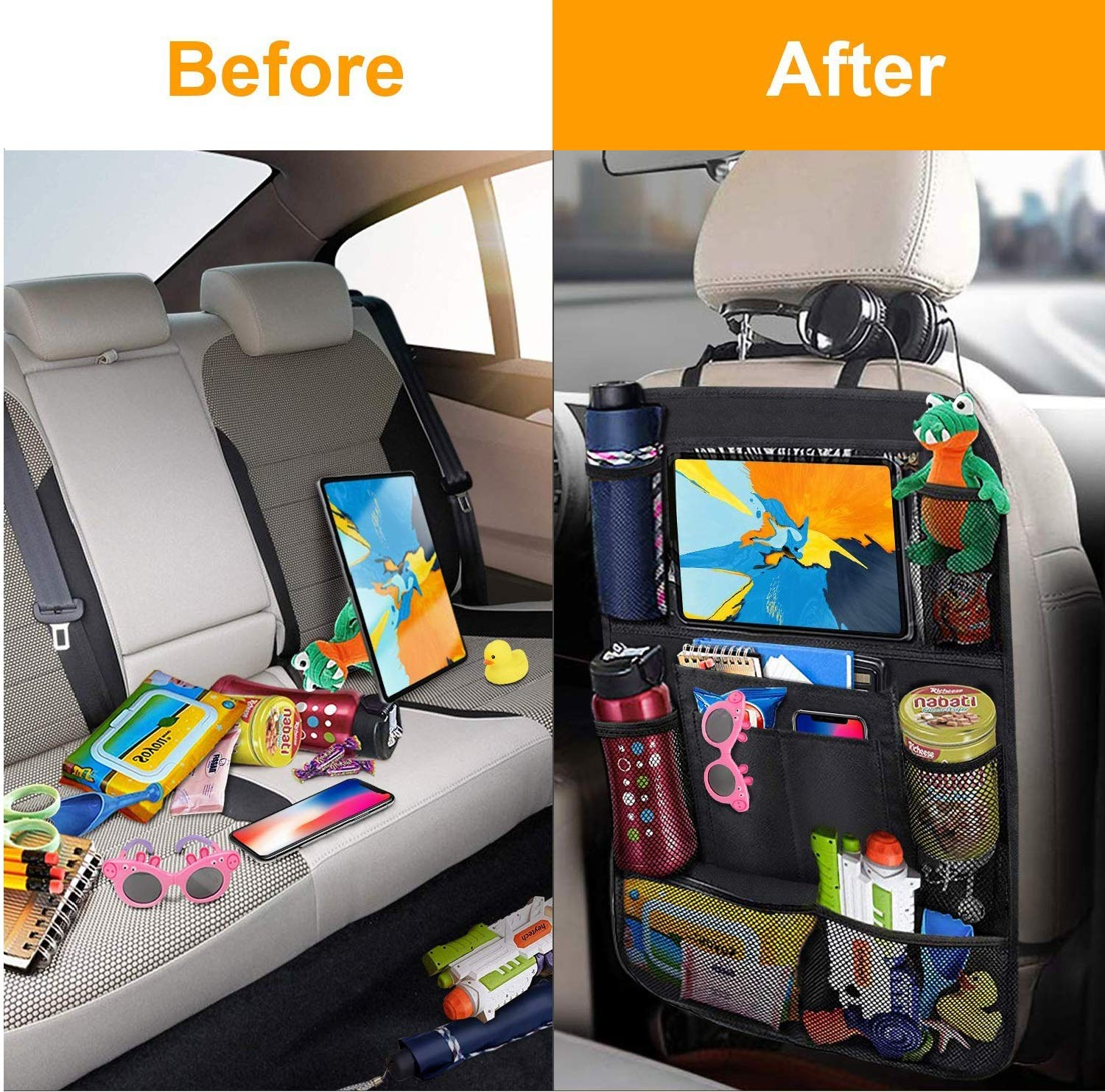 Durable Waterproof Oxford Fabric Car Seat Back Kick Mats Protector with 9 Storage Pockets Easyhouse Car Backseat Organizer 2 Pack