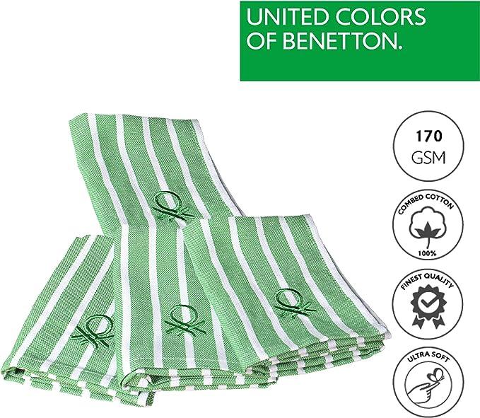 CASA Benetton Lot de 4 torchons de Cuisine 33 x 45 cm 170 g//m/² 100/% Coton Vert 45 x 33 cm United Couleurs of Benetton