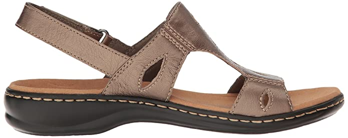 Women's Shoes Clarks Womens Leisa Lakelyn Cutout Slingback,Pewter Metallic Leather,US 9 W 26124807