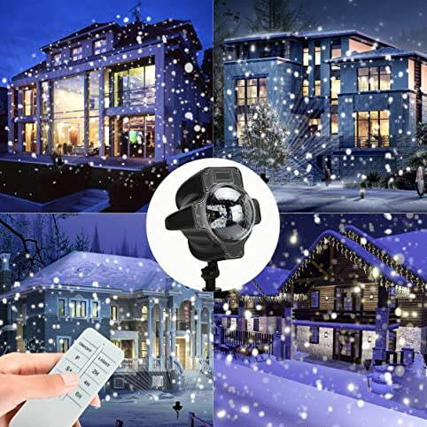 christmas projector lightsyming star motion rotating waterproof white snowflake slide show led snowfall fairy