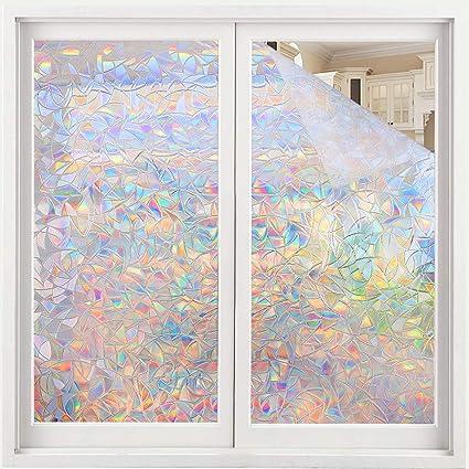 3D Regenbogen Fensterfolie Selbsthaftend Sichtschutzfolie Dekofolie UV Schutz