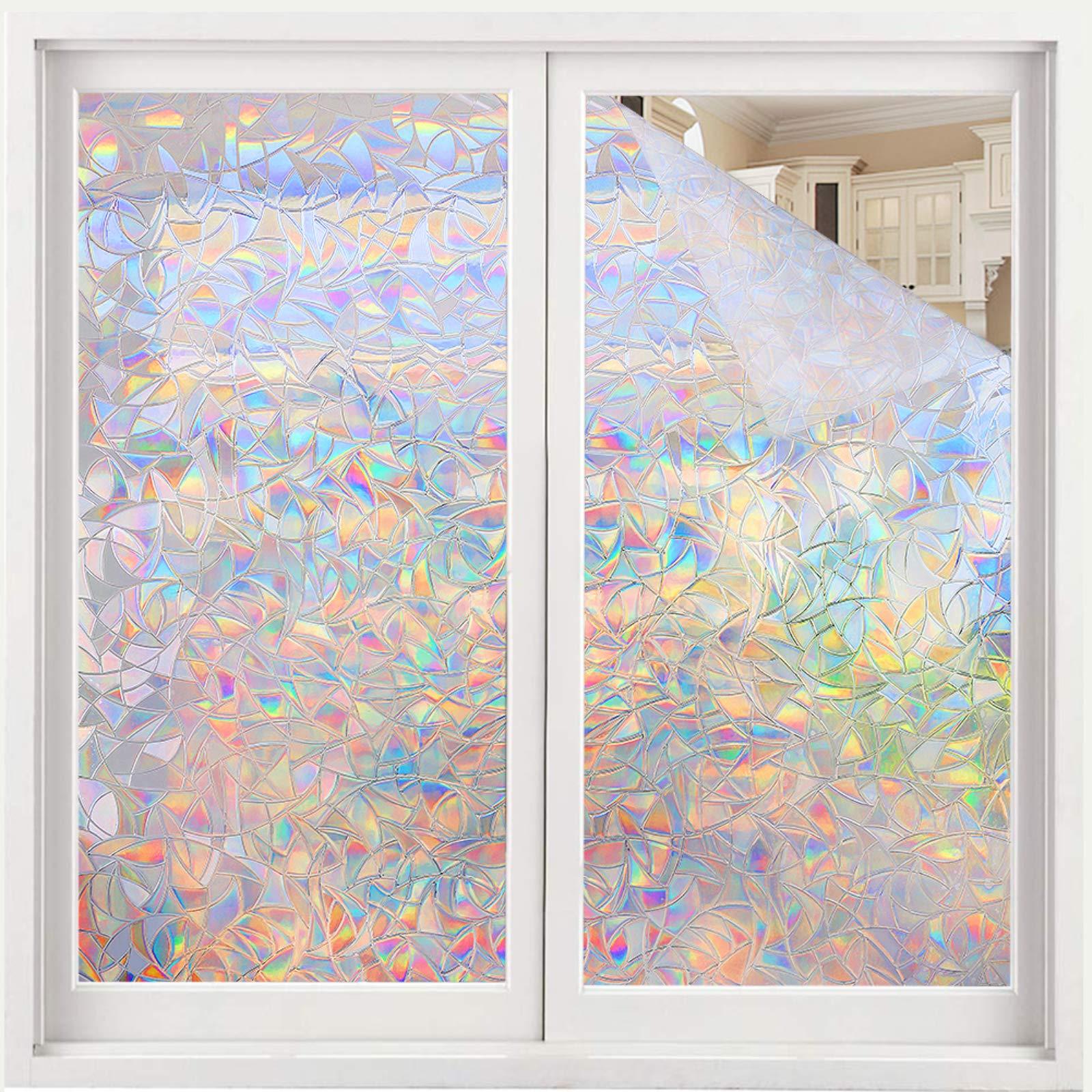 Volcanics Window Privacy Film Static Window Clings Vinyl 3D Window Decals Window Stickers Rainbow Window Film for Glass Door Home Heat Control 35.4 x 118 Inches