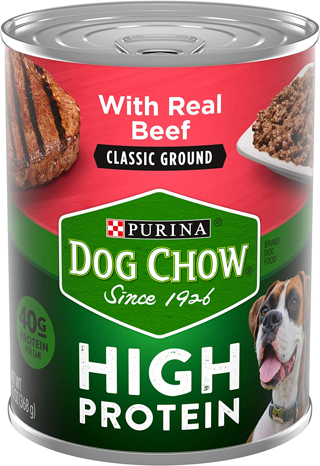 Purina Dog Chow High Protein Pate Wet Dog Food, High Protein With Real Beef - (12) 13 oz. Cans