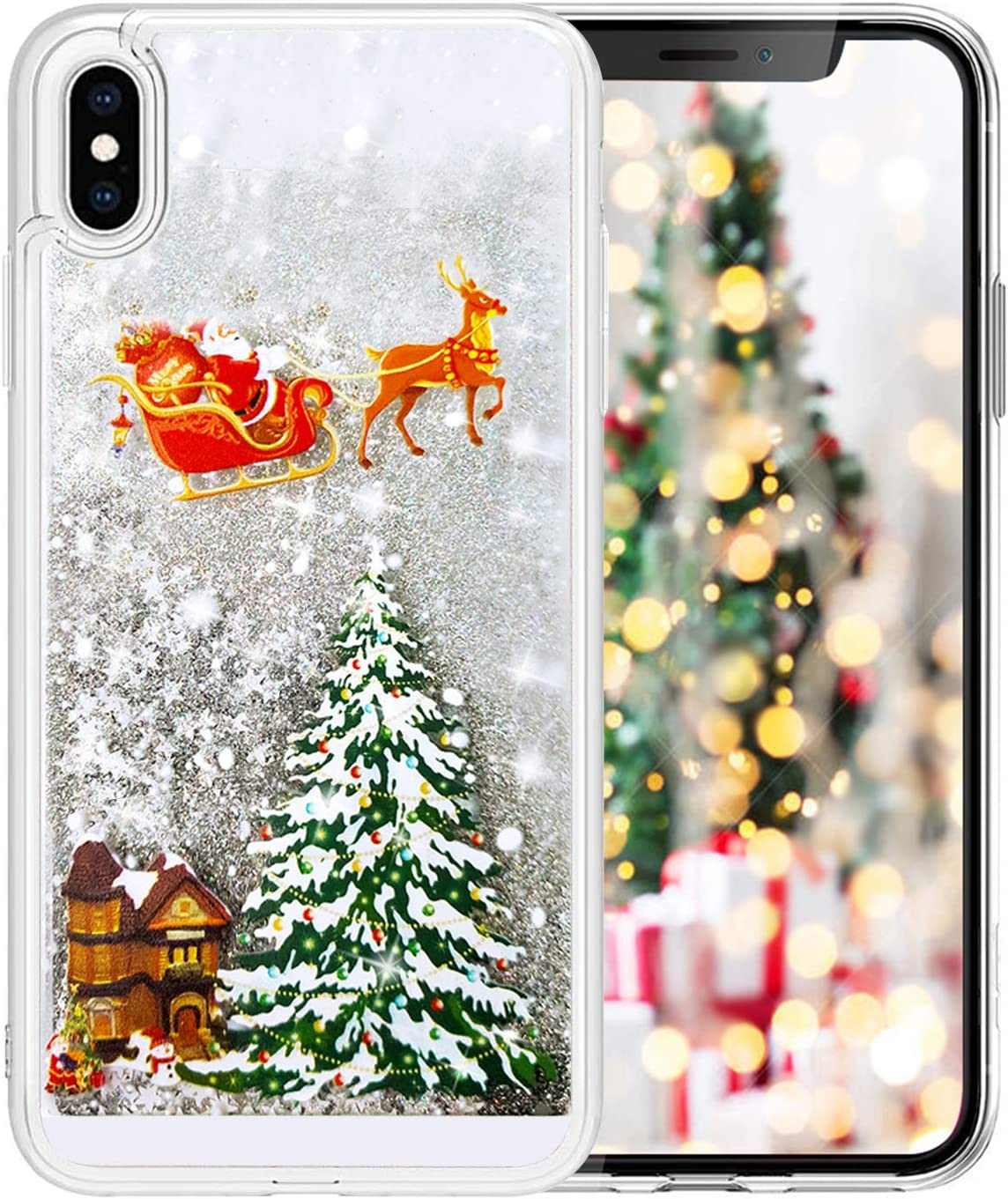 Fusicase for iPhone SE 2020 Christmas Case Liquid Glitter Merry Christmas Tree Rudolph Giraffe Pattern Flowing Floating Quicksand Luxury Bling Shiny Sparkle Case for iPhone 8