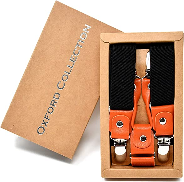 an elegant gift box Massi Morino /® Braces for men made of real leather length adjustable real leather braces wide in a classic Y-shape with robust clips incl