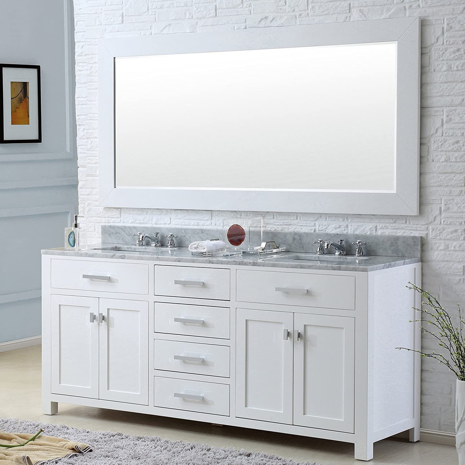 Water Creation MADISON 60WB 60 Inch Solid White Double Sink Bathroom Vanity  with Matching Framed Mirror     Amazon comWater Creation MADISON 60WB 60 Inch Solid White Double Sink  . Large Double Sink Bathroom Vanity. Home Design Ideas