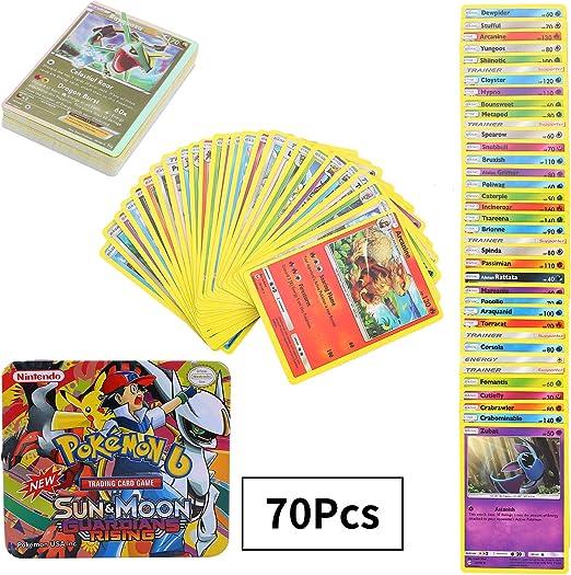 70 Pezzi Pokemon Carte, Pokemon Carta Collezionabile, GX EX Gioco di Carte, Sun & Moon Series Guardians Rising: Amazon.es: Juguetes y juegos