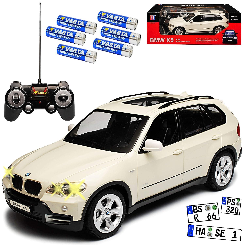 BMW X5 E70 SUV Weiss 2. Generation 2006-2013 RC Funkauto - inkl. Batterien - sofort startklar 1/18 Modell Auto mit individiuellem Wunschkennzeichen