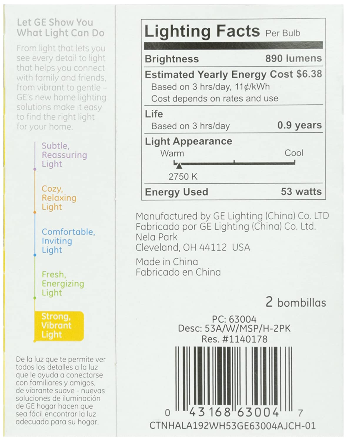 GE 63004, 53-Watt Energy Efficient Halogen Bulbs, Soft White, 2-pk, 120-Volt: Amazon.com: Grocery & Gourmet Food