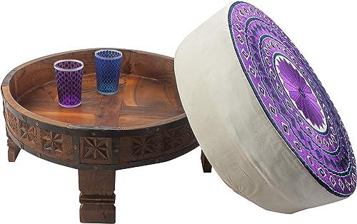 Divine Designs Embroidered Round Petit Ottoman, Purple White