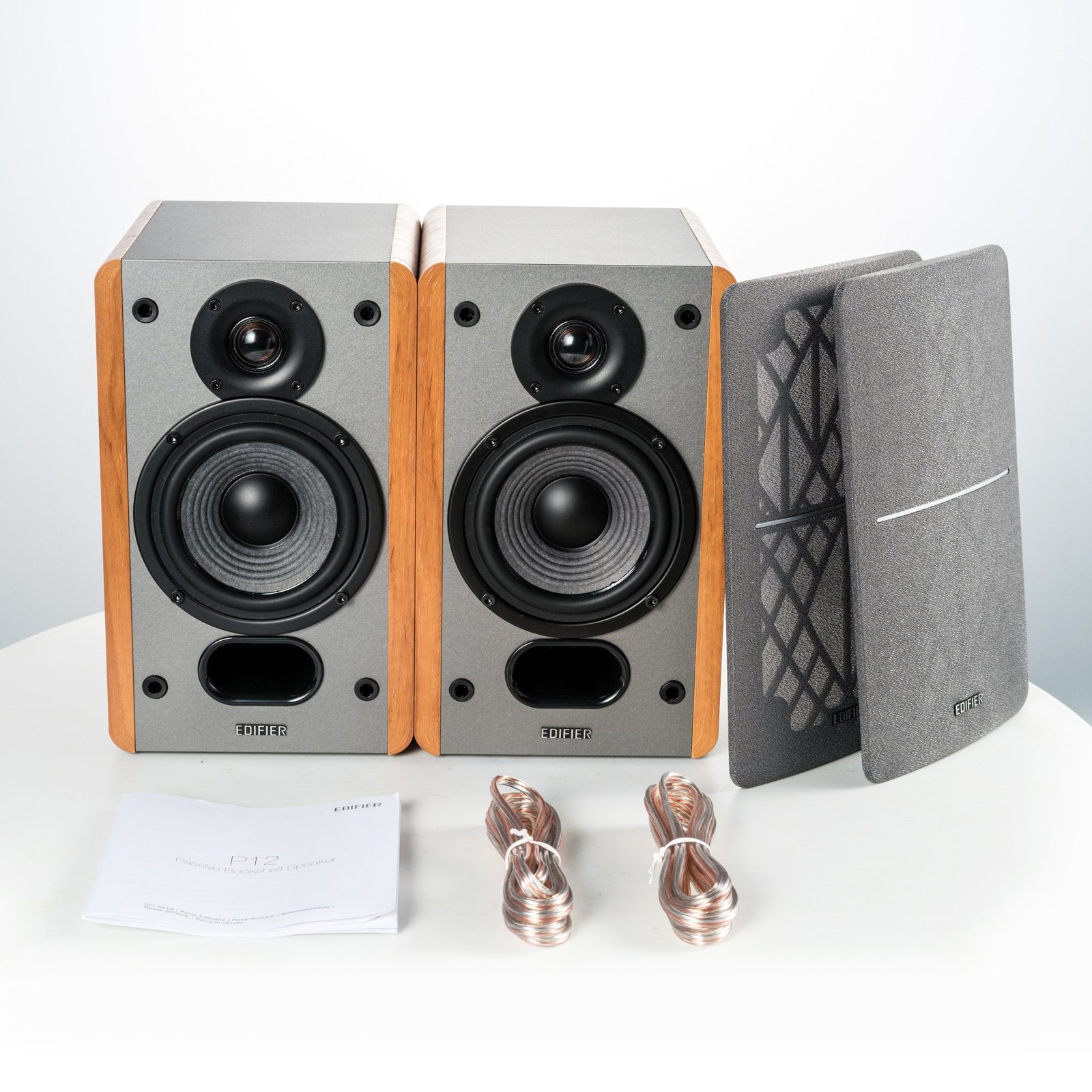 Edifier P12 Passive Bookshelf Speakers - 2-Way Speakers with Built-in Wall-Mount Bracket - Wood Color, Pair by Edifier (Image #5)