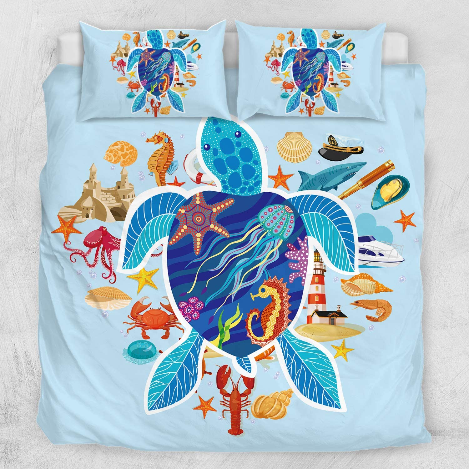 ARIGHTEX Turtle Bedding Sea Blue Duvet Cover Ocean 3D Corals Fishes Print for Teens Boys and Girls Sealife 3-Piece Quilt Set Full