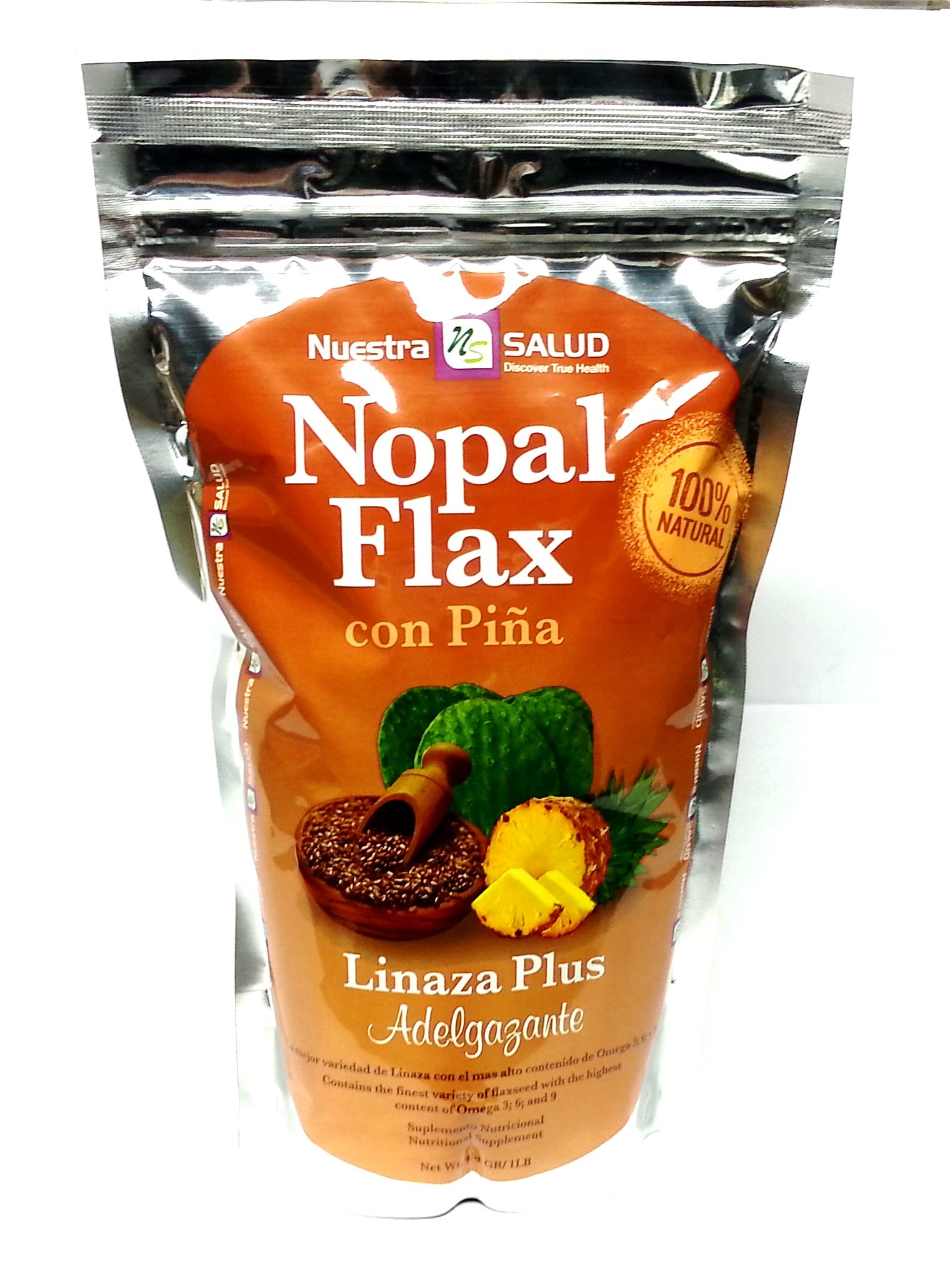 Nuestra Salud - Nopal Flax Seed Meal Plus with Pineapple- Organic Cold Milled Flax - 1lb/ 454g - 100% Natural Blend of Ground Linaza Seed and Superfoods