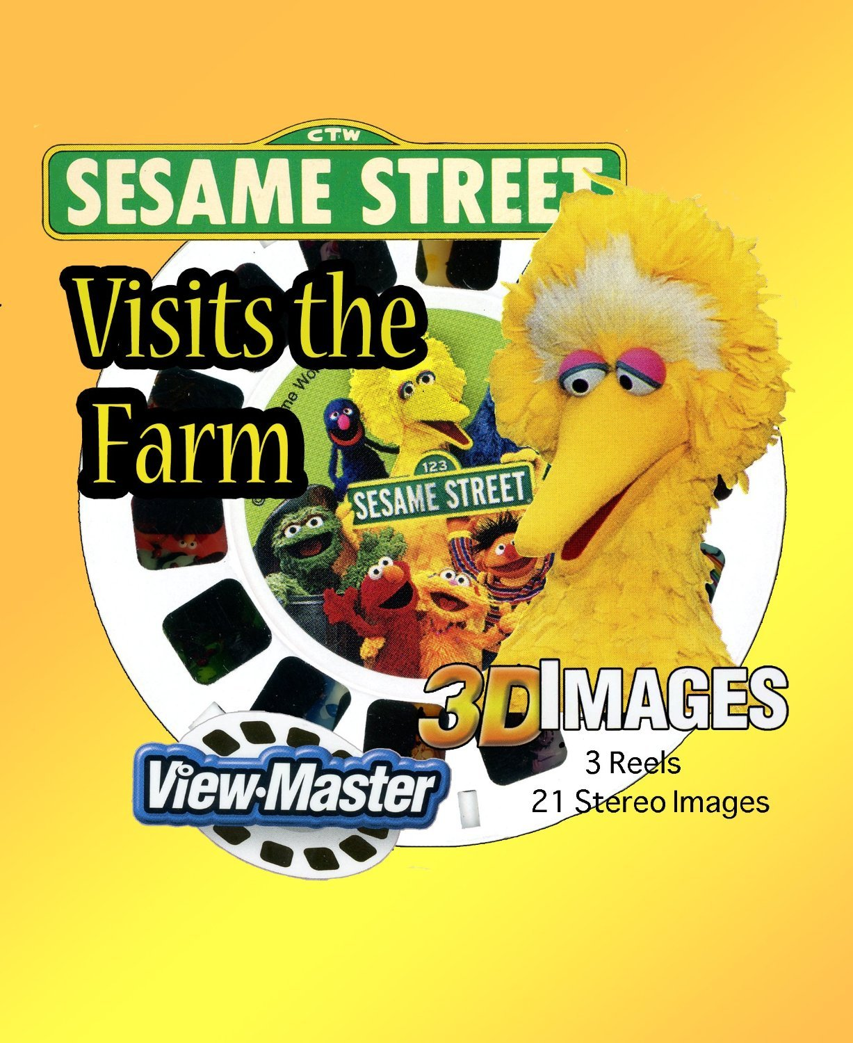 Sesame Visits the Farm - Classic ViewMaster - 3 Reel Set - 21 3D Images - Bert & Ernie, Big Bird by 3Dstereo ViewMaster