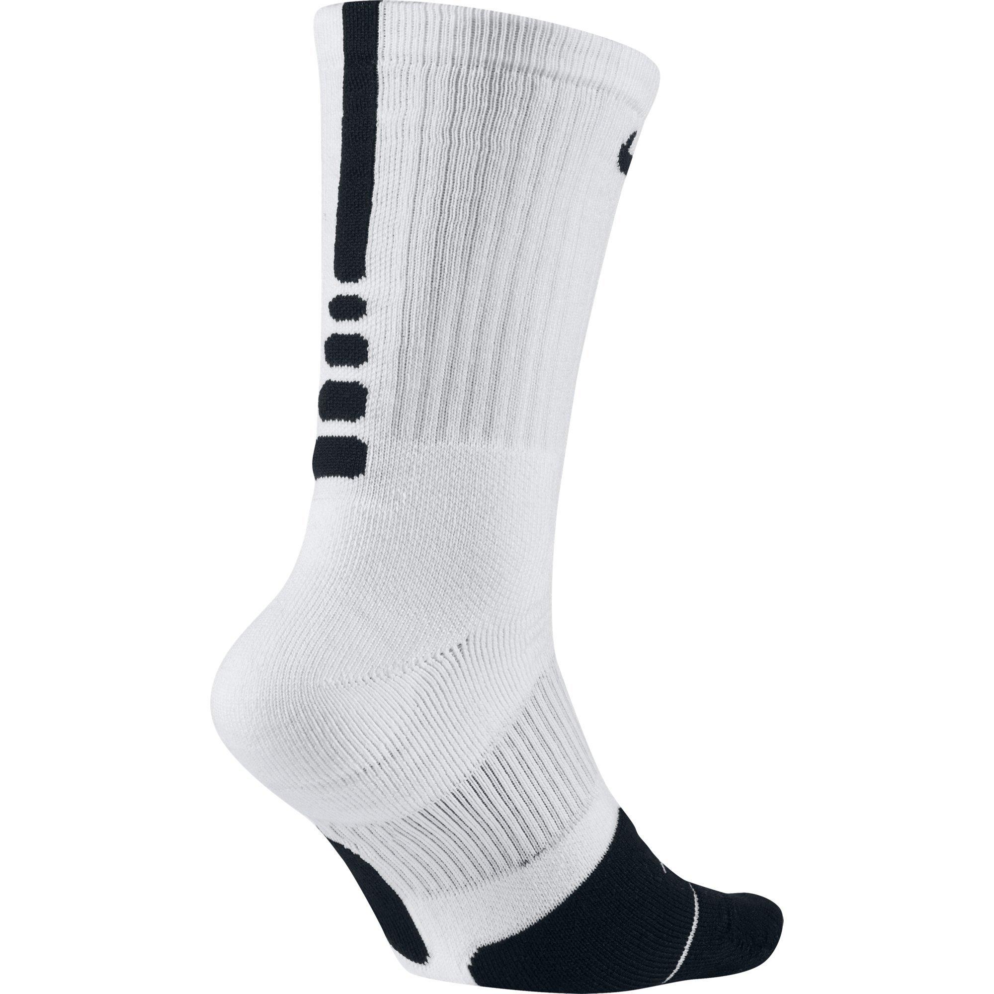 NIKE Unisex Dry Elite 1.5 Crew Basketball Socks (1 Pair), White/Black/Black, Small by NIKE (Image #3)