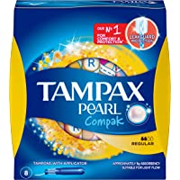 Tampax Pearl Compak Tampons Regular, Light, 8 Count