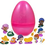 12 Bubble Guppy Figurines Inside Jumbo Glitter Easter Egg - Pre Filled To Save You Time - Use Our Durable Eggs Again - Favorite Characters Like Gil, Goby, Oona And Nonny - Perfect As Kids Party Favors