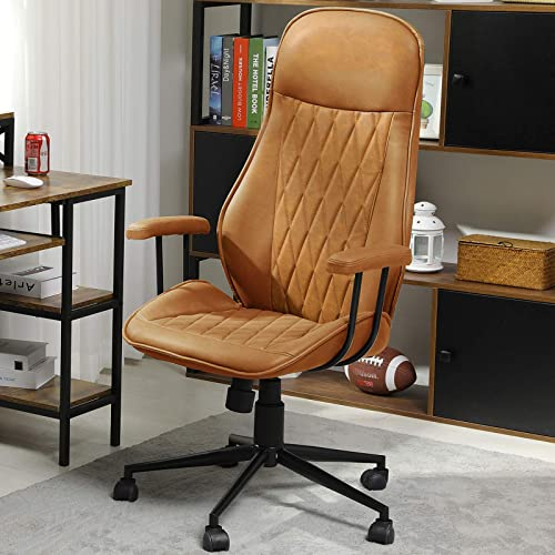 Home Office Chair Leather Desk Chair Ergonomic Computer Chair Swivel Task Chair High Back