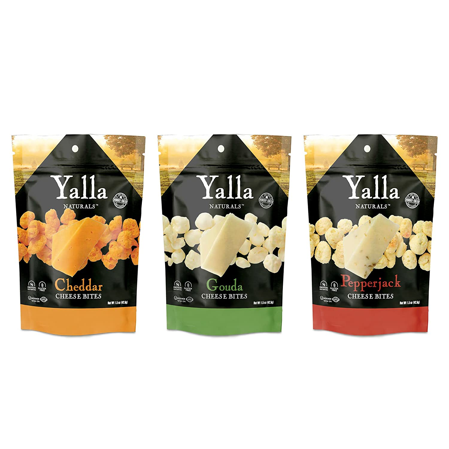 Crunchy Bites Cheese Snacks 3 Pack - Cheddar, Gouda and Pepper Jack - 100% Cheese - High Protein and Calcium, Gluten Free, No-Low Carb, Kosher - 1.5oz - by Yalla Naturals