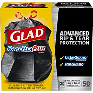 Glad ForceFlexPlus Drawstring Large Trash Bags - 30 Gallon - 50 Count