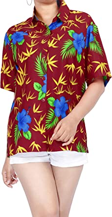 Blusas de la Camisa Hawaiana botón en Forma Relajada por Las Mujeres Short Azul Mangas Campamento: Amazon.es: Ropa y accesorios