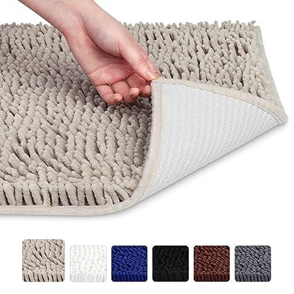 VDOMUS Soft Microfiber Shag Bath Rug Absorbent Bathroom Mat,32u0026quot; X  20u0026quot;(