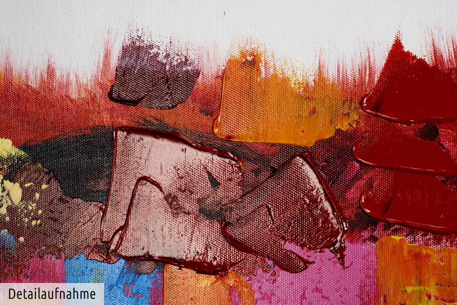 KunstLoft/® Painting Colour display on the horizon 47x16inches Modern art acrylic mural on frame Abstract colours against a white backdrop Large original hand-painted canvas