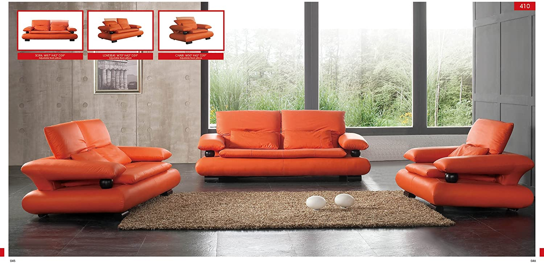 Amazon.com: ESF Modern 410 Orange Italian Leather Sofa Set ...